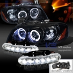 COMBO: Halo Glossy Black Projector Headlights + FREE LED Fog Lights