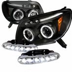 COMBO: Halo LED Black Projector Headlights + Chrome LED Fog Lights