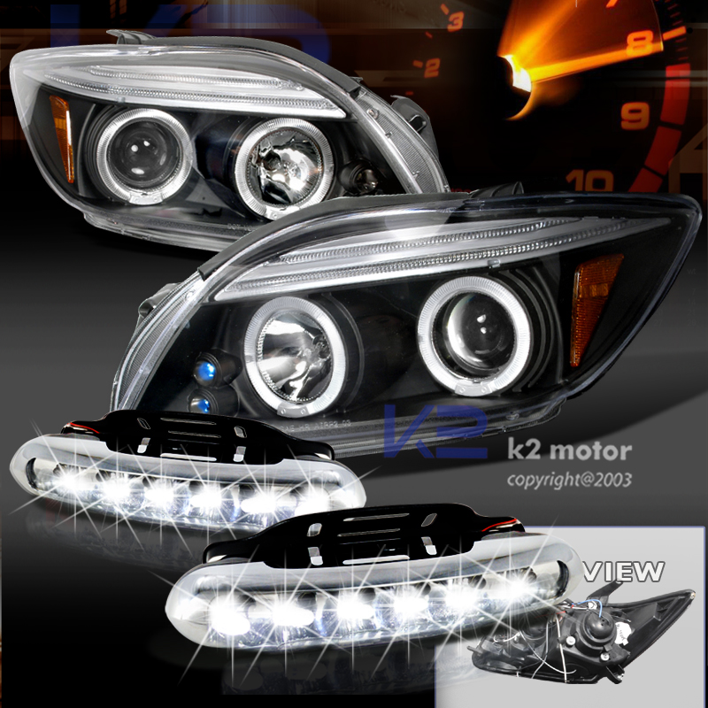 Scion Tc Halo Headlights >> 05-10 Scion TC Dual Halo LED Black Projector Headlights w/Amber Reflectors + Day Time Running ...