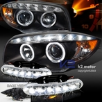 COMBO: Halo LED Black Projector Headlights + FREE LED Fog Lights