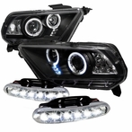 COMBO: Halo LED Black Projector Headlights + LED Fog Lights