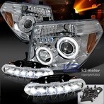 COMBO: Halo LED Chrome Projector Headlights + FREE LED Fog Lights