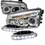 COMBO: Halo LED Chrome Projector Headlights + LED Fog Lights