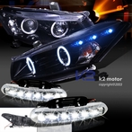 COMBO: Halo LED Glossy Black Projector Headlights + FREE LED Fog Lights