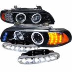 COMBO: Halo LED Glossy Black Projector Headlights + LED Fog Lights