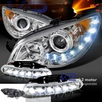 COMBO: LED Chrome Projector Headlights + FREE LED Fog Lights