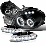 COMBO: LED Halo Black Projector Headlights + LED Fog Lights