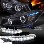 COMBO: LED Halo Black Projector Headlights + FREE LED Fog Lights