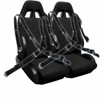 COMBO: Pair of Black Bride Style Racing Seats + FREE Black 4 Point Camlock Harness