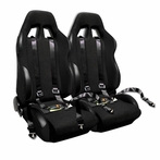 COMBO: Pair of Black Bride Style Racing Seats  + FREE Black 4 Pt Seat Belt Harness