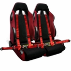 COMBO: Pair of Red Bride Style Racing Seats FREE Red 4 Pt Seat Belt Harness
