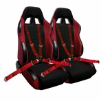COMBO: Pair of Red Bride Style Racing Seats FREE Red 4pt Camlock Harness
