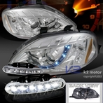 COMBO: R8 Style Chrome Projector Headlight + FREE LED Fog Lights
