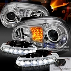 COMBO: R8 Style LED Chrome Projector Headlights + FREE LED Fog Lights