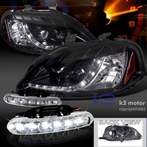 COMBO: R8 Style LED Glossy Black Projector Headlights + FREE LED Fog Lights