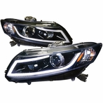 Glossy Black DRL Rope LED Projector Headlights