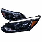 Glossy Black  LED DRL Projector Headlights