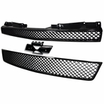Glossy Black Upper & Lower Front Mesh Grille