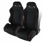 JDM T - R Style Racing Seats Red Stitching (Black with Red Stitching)
