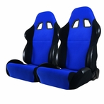 Pair Bride Style Racing Seats with Sliders  (Black/Blue)