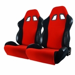 Pair Bride Style Racing Seats with Sliders  Red (Black/Red)