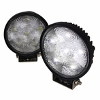 Pair of Round 4.5inch 6 LED Work Fog Lights - Black Housing w/wire