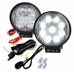 Pair of Round 4.5inch 9 LED Work Fog Lights - Black Housing w/White