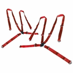 Pair of Universal 4Pt Camlock Racing Seat Belt Harness (Red)