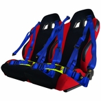 Reclinable Sport Racing Seats + 4 Point Blue Harness Belts (2PC)