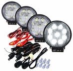 Set of 4 Round 4.5inch 9 LED Work Fog Lights - Black Housing w/White
