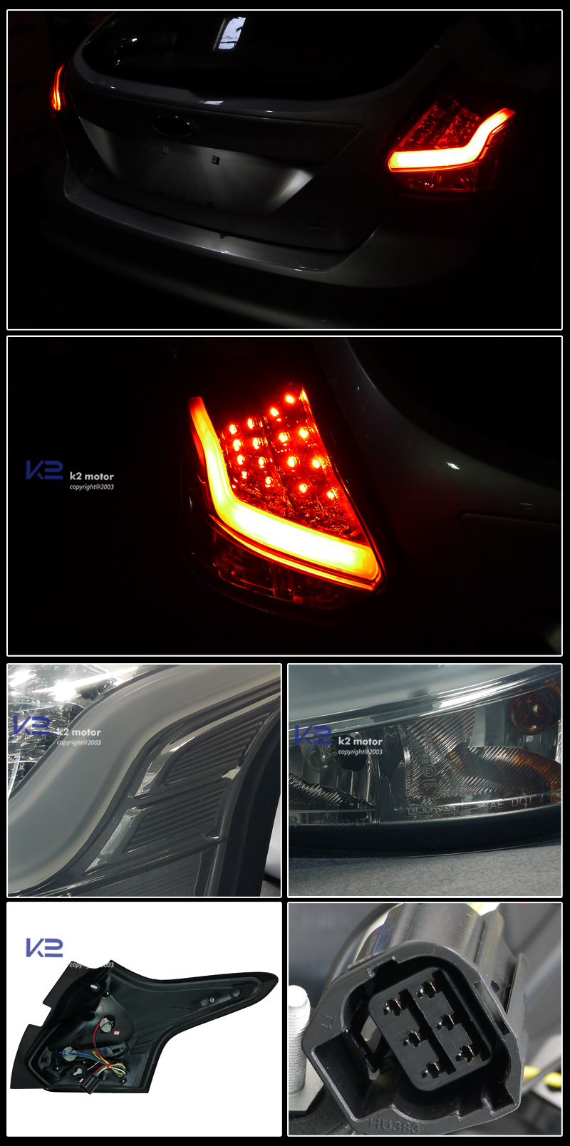 2012 2014 Ford Focus 5dr Led Tail Lights Smoke
