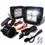 "Universal 4-LED Cube Flood Beam Off-Road Fog Lights + Wiring Harness + 2.5"" Mounting Bracket"