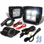 "Universal 4-LED Cube Flood Beam Off-Road Fog Lights + Wiring Harness + 2"" Mounting Bracket"