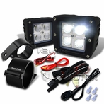 "Universal 4-LED Cube Flood Beam Off-Road Fog Lights + Wiring Harness + 3"" Mounting Bracket"