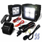 "Universal 4-LED Cube Spot Beam Off-Road Fog Lights + Wiring Harness + 3"" Mounting Bracket"