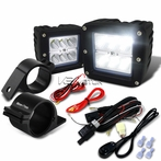"Universal 6-LED Cube Flood Beam Off-Road Fog Lights + Wiring Harness + 2.5"" Mounting Bracket"