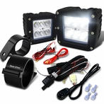 "Universal 6-LED Cube Flood Beam Off-Road Fog Lights + Wiring Harness + 3"" Mounting Bracket"