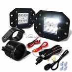 "Universal 6-LED Flood Beam Off-Road Fog Lights + Wiring Harness + 2.5"" Mounting Bracke"
