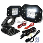"Universal 6-LED Flood Beam Off-Road Fog Lights + Wiring Harness + 2"" Mounting Bracke"