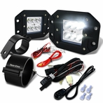 "Universal 6-LED Flood Beam Off-Road Fog Lights + Wiring Harness + 3"" Mounting Bracke"