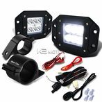"Universal 6-LED Spot Beam Off-Road Fog Lights + Wiring Harness + 2.5"" Mounting Bracket"
