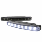 Universal 8 LED Daytime Running Lights - White w/Black Housing