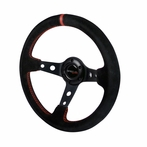 Universal Deep Dish Steering Wheel 330MM (Red Stitching)