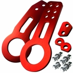 Universal Front and Rear Aluminum 2pc Tow Hook Kit (Red)