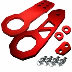 Universal Front and Rear Billet Style 2pc Tow Hook Kit (Red)