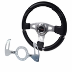 Universal MOMO Net Style Leather Steering Wheel with Shift Paddles Spec - D Logo (Silver)