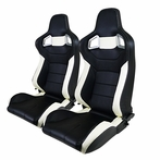 Universal PVC Leather 2 - Tone Racing Seats Pair White (Black)
