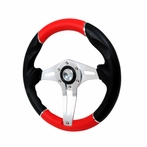 Universal Technic Style Red Steering Wheel 320Mm  (Red/Silver)
