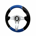 Universal Technic Style Steering Wheel - 320mm  (Blue/Silver)