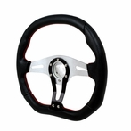 Universal Technic Style Steering Wheel 350Mm (Black/Silver with Red Stitches)